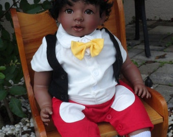 """Reborn African American 22"""" Toddler Boy Doll """"Marquis"""" and Mickey Mouse"""