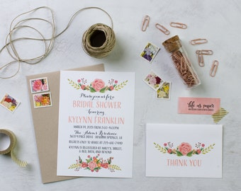 flowers bridal shower invitation