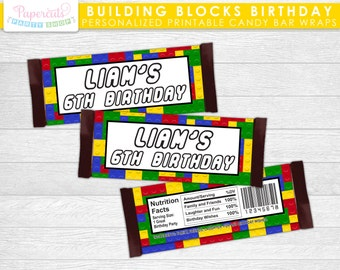 Building Blocks Theme Birthday Party Chocolate Bar Wrapper | Yellow Red Blue & Green | Personalized | Printable DIY Digital File