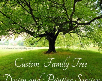 Custom Antiqued Family Tree Ancestry Art Design and Fine Art Printing Services 11 X 14 Professional Design Printing Decor Ancestry Gift