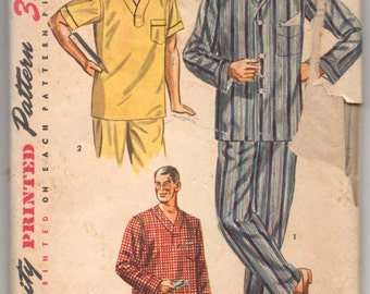 """1950's Simplicity Men's Pajama Set and Nightshirt pattern - Chest 42-44"""" - No. 4108"""