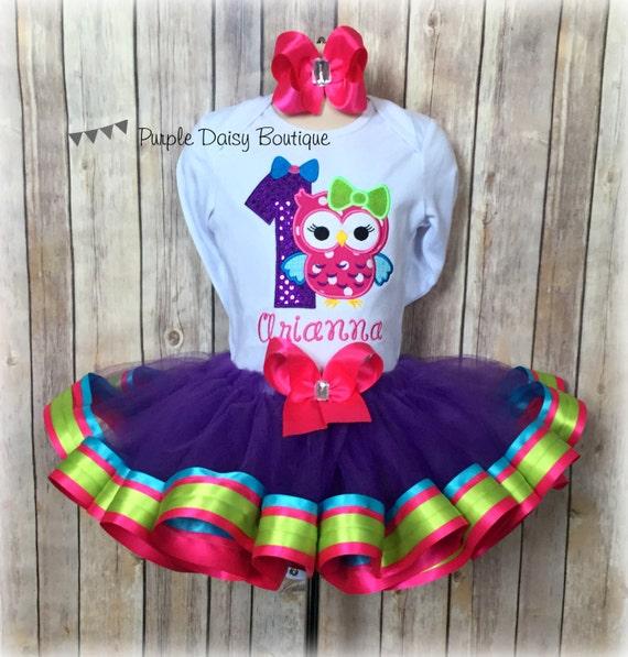 Owl Birthday Ribbon Trim Tutu Outfit First Birthday Owl Tutu