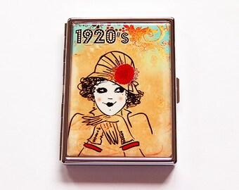 Retro cigarette case, Slim Cigarette Case, 1920s Cigarette Case, Flapper, cigarette case humor, Metal Wallet, 1920s, Art Deco (5915)