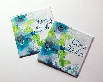 Clean Dishes Magnet, Dirty Dishes Magnet, Dishwasher Magnet, Kitchen Magnet, magnet, Blue, Green, Flower Dishwasher Magnet (5333)