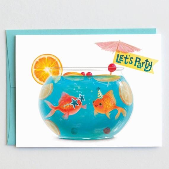 let's party punchbowl birthday card by mudsplashstudios on etsy, Birthday card