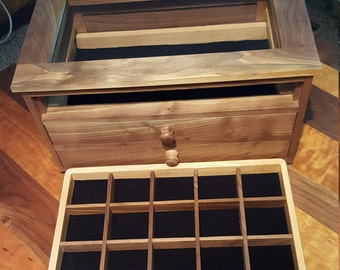 Walnut jewelry box with velvet lined drawers