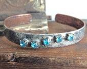 Silver and Copper Soldered Turquoise Rhinestone Bracelet, Forged Copper Cuff Bracelet, Silver Bracelet, Kyleemae Designs