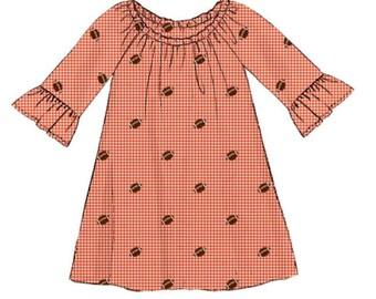 Girl's Orange Gingham Football Dress