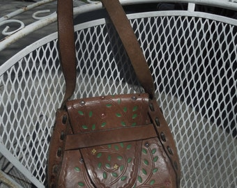 Vintage Painted Flowers  Tooled Leather Handbag Shoulder Horseshoe Shaped