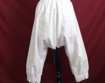 """For 25% off use coupon 'SALE25' - 1880s 1890s Restored Antique Victorian Open Drawers Bloomers with Crochet Lace Trim Waist 27"""" Hand Sewn"""