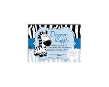 Baby Boy Zebra Diaper Raffle Tickets-Safari Theme Raffle Ticket-INSTANT DOWNLOAD