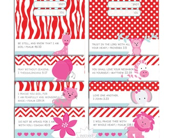 Valentines Treat Bag Toppers-Scripture Treat Bag Toppers-Religious Party Bag Toppers-INSTANT DOWNLOAD