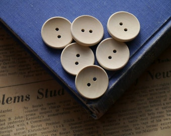 "20 pcs Natural Raw Wood Buttons 25mm 1"" (WB2920)"