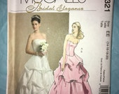 """CLEARANCE Uncut Strapless Wedding Top Skirt, Bridesmaid Formal Evening McCall's #M5321 - Sizes 14-16-18-20 — Bust 38.5 40.5 42.5 44.5"""" 2007"""