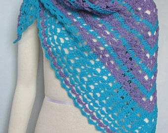 Purple and Turquoise Crocheted Lace Shawl handmade