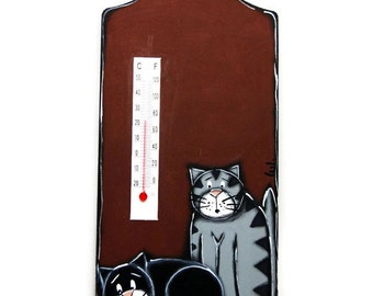 House thermometer with two cats - Cats thermometer - Two cats painting