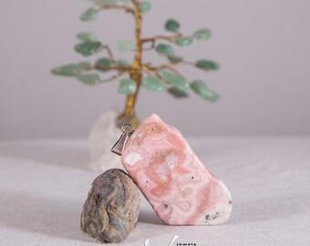 Natural rhodochrosite stone pendant, light pink pendant, genuine rhodochrosite untreated natural stone, return to nature jewelry