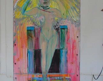 Abstract Painting People Art contemporary art abstract art expressionism large painting figurative art angel decor by Cheryl Wasilow