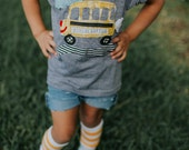 Swanky Shank Gender Neutral School Bus Tee; Choose Grade and Customize with Name at check-out