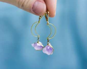 Crescent moon earrings, boho golden earrings with crystals, bohemian brass earrings, half moon amethyst earrings, gift for her, boho gift