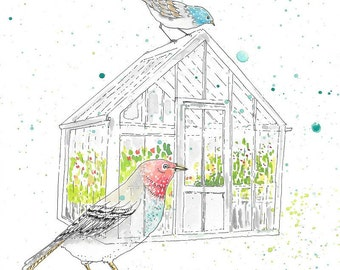 Glass Greenhouse with Birds - Print of Original Pen and Watercolor Art