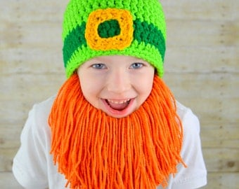 Irish Leprechaun Beard Hat Saint Patricks Day Kiss Me I'm Irish Bearded Beanie