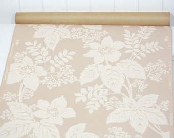 Partial Roll of Vintage Wallpaper - Floral Wallpaper with Pink Flowers on Pearly Pink Background, 8 yard roll