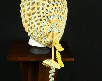Women's pastel lace beret Lightweight crochet beanie Slouchy mesh hat Crocheted boho beanie Spring Hippie hat Bohemian hat Romantic chic