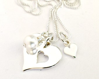 Mother Daughter Necklace Set - Sterling Silver Open Heart Disc & Pearl with Matching Tiny Heart - You Carry a Piece of My Heart Gift for Her