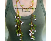 Lariat necklace - blossoming sprig. Beading Tutorial. Beading pattern PDF. Instant download.