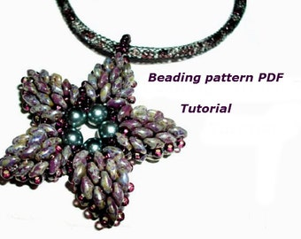 Beaded Pendant flower. Beading Tutorial. Beading pattern PDF. Instant download.