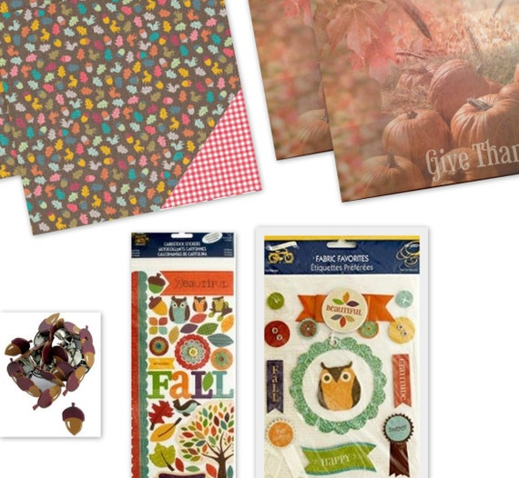 Fall Kit 1 Scrapbook Card / Scrapbook Paper / Stickers / Brads
