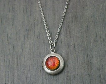 Misha - Color Shifting - Red Gold Green Blue - Small Locket Antique Silver Necklace