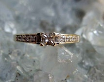 14k White Gold and Diamond Engagement Ring, Princess Cut Center Stone with Baguette and Round Accents, Size 7 1/2 U.S., Signed and Lovely