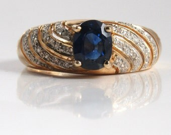 Sapphire and Diamond Ring; Sapphire and Diamond High Fashion Ring; Blue Sapphire Ring; Sapphire Wedding Band; Wedding Band