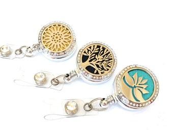 Essential Oil Diffuser Badge Reel - Aromatherapy Name Badge Holders - Locket Badge Clip - Retractable Badges - Nurse Jewelry - BadgeBlooms
