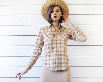 RALPH LAUREN Vintage beige red plaid button up slim fit long sleeve shirt blouse top XS S