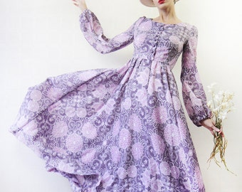 70s vintage white purple floral print long sleeve boho princess maxi dress XS-S