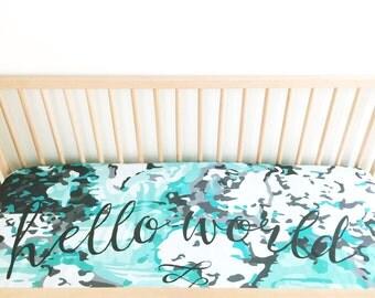 Crib Sheet Aqua + Black Hello World. Fitted Crib Sheet. Baby Bedding. Minky Crib Sheet. Crib Sheets. Map Crib Sheet. Adventure Nursery.
