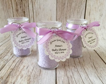 10 Lavender bath salt favors in glass bottles with personalized tags, bridal shower, baby shower, wedding favors.
