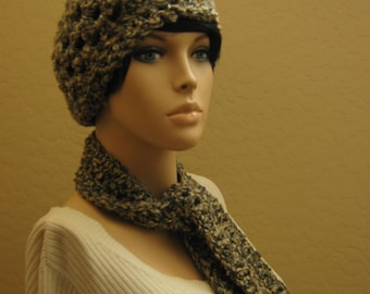 Crochet Cloche Hat in Slate, Crochet Scarf,