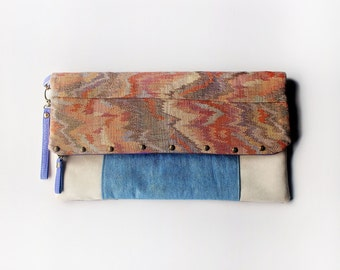 Foldover Clutch Upcycled Vintage Tapestry and Denim Studded Zippered Bag Double Sided Unique Handmade Ecofriendly