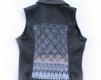 Upcycled Gray Denim Vest with Doily and Lace Cut Out Back - Sz Small