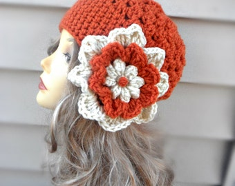 Crochet Womens Hat Womens Beanie Winter Hat Orange Beanie Womens Cap Crochet Cap