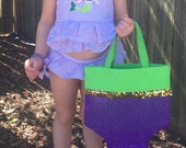 LITTLE MERMAID Party Favor Tote- ARIEL Swimming Party Tote- Halloween Trick or Treat Bag- Dance Bag- Large