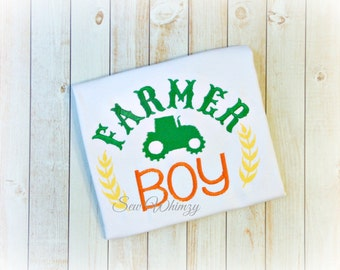 Farm boy Applique shirt- Boy Farm Shirt- Farm Embroidery Shirt- Country Boy Shirt- Boy Tractor Shirt- Tractor Shirt- Tractor Boy Shirt- Boy