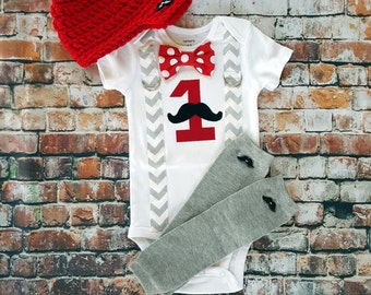 Baby Boy First Birthday Outfit - Little Man Mustache Party - Boys Birthday Bodysuit with Matching Hat and Leg Warmers  Cake smash - red grey