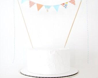 Aqua & Orange Cake Topper - Fabric Cake Bunting - Wedding, Birthday Party, Baby Shower Decoration - floral plaid blue peach garden picnic
