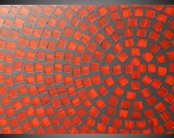 Red and Grey Painting on Canvas wall art Abstract Acrylic Painting with Squares Modern wall art deco 36 x 24 Made to Order by ilonka