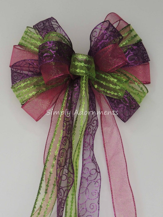 Purple Pink Lime Easter Wreath Bow Pink Lime Mardi Gras Wreath Bow Christmas Tree Topper Bow Birthday Party decor Mardi Gras Door Swag Bow